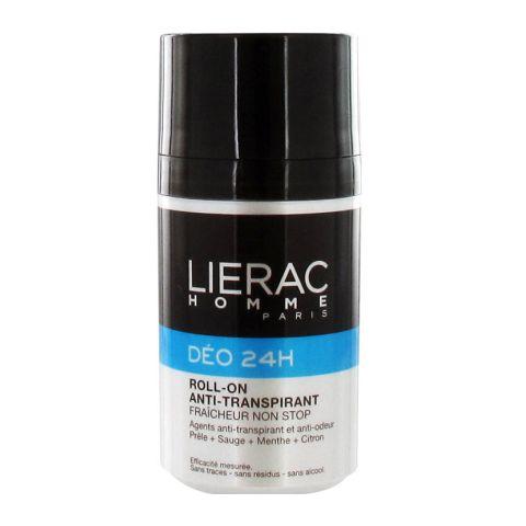 Лиерак Дезодорант 24 часа защиты для мужчин (Ролик 50 мл)Дезодоранты<br>Шариковый антиперсперант. Не содержит спирт. Не оставляет следов на одежде.<br>комплекс Skinpower (Скинпауэр), состоящий из 5 минералов и олигоэлементов (железо, магний, медь, цинк, марганец), благодаря этому комплексу кожа получает необходимые питательные компоненты для обеспечения оптимальной жизнедеятельности<br>хвощ, шалфей 1 % - растительный комплекс, препятствующий потоотделению, ограничивающий распространение бактериальной флоры и смягчающий кожу.<br>Соли алюминия 8% - сокращают процесс потоотделения, воздействуя на поры кожи, а также обладают бактерицидными свойствами и способствуют ослаблению неприятного запаха.<br>Триэтил цитрат 1% - он позволяет уменьшить появление неприятного запаха за счёт снижения проникновения бактерий в структурные элементы пота. Этот натуральный компонент обладает уникальными бактерицидными и метаболическими свойствами, сокращая тем самым неприятный запах.<br><br>Объем мл: 50<br>Тип кожи: всех типов