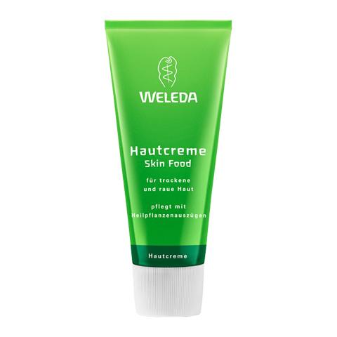Веледа Skin Food Крем питательный универсальный (Туба 75 мл)Уход за лицом<br>Weleda Skin Food Hautcreme (Веледа Skin Food Крем питательный универсальный) для сухой, поврежденной кожи. <br>Натуральный мультифункциональный крем Weleda Skin Food Hautcreme был разработан в 1926 году и с тех пор остается одним из самых популярных продуктов компании. Созданный только из натуральных компонентов крем Skin Food моментально восполняет недостаток питательных веществ, восстанавливает обезвоженную, уставшую кожу, ускоряет ее регенерацию и защищает. Безопасная универсальная формула позволяет использовать крем в качестве:<br>успокаивающего крема для раздраженной, потрескавшейся кожи; <br>SOS-крема для огрубевших участков тела (локтей, коленей, пяток); <br>восстанавливающего и защитного бальзама для губ; <br>питательной маски для лица; <br>базы под макияж (праймера); <br>ухода для кутикулы; <br>лечебного средства для секущихся кончиков волос. <br>Веледа Skin Food Крем питательный универсальный делает кожу мягкой, эластичной и гладкой, дарит ей свежесть и сияние, устраняет дискомфорт. Нежный аромат с нотками сладкого апельсина и лаванды пробуждает чувства. Крем прошел дерматологические испытания, полностью натуральный состав подтвержден сертификатом NaTrue.<br>Активные компоненты: <br>масла подсолнечника и миндаля увлажняют, ускоряют регенерацию, устраняют сухость и раздражение; <br>экстракт фиалки смягчает, улучшает защитные функции кожи; <br>экстракты ромашки и календулы заживляют, успокаивают, восстанавливают; <br>пчелиный воск образует на коже тонкую дышащую пленочку, которая защищает ее от внешних агрессий и предотвращает потерю влаги; <br>ланолин, глицерин увлажняют, смягчают, защищают. <br>Не содержит консерванты.<br><br>Объем мл: 75<br>Тип кожи: сухой