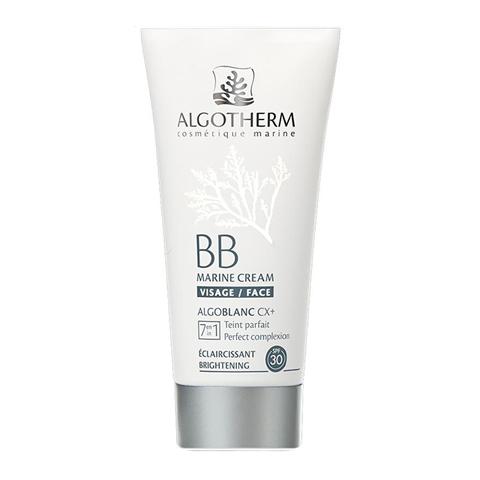 Альготерм АльгоБлан BB-Крем для лица морской SPF30 (Туба 30 мл)Уход за лицом<br>Algotherm BB Marine Cream SPF30 (Альготерм АльгоБлан  BB-крем для лица морской SPF30) для проблемной, жирной, зрелой кожи, в том числе чувствительной. <br>Уникальное средство Algotherm BB Marine Cream SPF30 – это многофункциональный уход 7 в 1. Крем выравнивает тон кожи, маскирует пигментные пятна и несовершенства, защищает от УФ-лучей, увлажняет, контролирует выработку себума, успокаивает, разглаживает. Благодаря универсальной формуле Альготерм АльгоБлан BB-крем для лица морской SPF30 подходит для всех тонов кожи. Результат применения средства – мгновенный безупречный цвет лица и постепенное оздоровление кожи.<br>Активные компоненты: <br>комплекс Algoblanc CX+® маскирует пигментные пятна, неровности и несовершенства; <br>морские водоросли Dictyopteris Membranacea и Bleue Phormidium Persicinum осветляют пигментные пятна, разглаживают кожу; <br>экстракт цветков лилии отбеливает; <br>витамин С оказывает антиоксидантное действие; <br>экстракт цветов вишни снимает воспаление, проявляет антибактериальные свойства; <br>витамин Е обновляет и защищает кожу, предотвращает преждевременное старение.<br><br>Объем мл: 30<br>Тип кожи: жирной, комбинированной, чувствительной