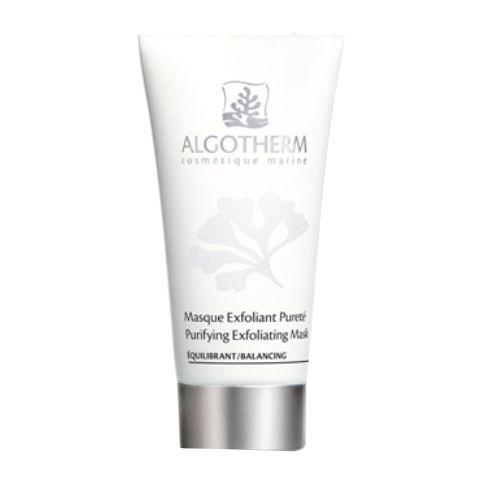Альготерм АльгоПьюр Очищающая маска-эксфолиант (Туба 50 мл)Уход за лицом<br>Algotherm Purifying Exfoliating Mask (Альготерм АльгоПьюр Очищающая маска-эксфолиант) для жирной, комбинированной, проблемной кожи.<br>Эта маска эффективно поглощает избыток себума, отшелушивает ороговевшие клетки, глубоко очищает и сокращает поры, снижает активность сальных желез, дезинфицирует кожу. После ее применения исчезает жирный блеск, лицо выглядит свежее и моложе.<br>Активные компоненты:<br>белая и зеленая глина абсорбируют жир и токсины, сокращают поры, подсушивают и подтягивают кожу;<br>мелкие частички абрикосовых косточек удаляют омертвевшие клетки;<br>экстракты водорослей Tetraselmis Chui и Fucus Spiralis нормализуют синтез себума;<br>цинк подавляет активность сальных желез, матирует и подсушивает кожу, уничтожает бактерии и микроорганизмы.<br><br>Объем мл: 50<br>Тип кожи: жирной, комбинированной, проблемной