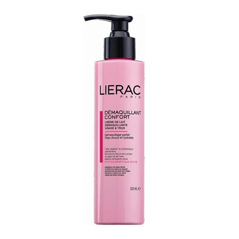 Лиерак Молочко очищающее для лица и контура глаз  (Флакон с помпой 200 мл)Очищение кожи лица<br>Нежное молочко-крем с чувственным ароматом розы, магнолии и иланг-иланга. Очищает, увлажняет и смягчает кожу. Обладает питательными свойствами.<br>* ECOSKIN®: защищает и восстанавливает естественную экосистему кожи.<br> Цветочный мёд: из клубней растения якон. Стимулирует рост сапрофитной микрофлоры.  Пробиотики-детоксикаторы: Lactobacillus casei, Lactobacillus  acidophilus Стимулируют синтез Молочной кислоты и ?-дефенсинов* (*препятствует развитию Стафилококка золотистого)<br>* Экстракт розы - 0,5%: - смягчает, увлажняет<br>* Экстракт цветков японской вишни - 0,5%: антиоксидант, питание<br>* Масло сладкого миндаля и семян хлопка - 1%: ультрокомфорт<br>* Витамин Е: – антиоксидант<br><br>Объем мл: 200<br>Тип кожи: всех типов, сухой