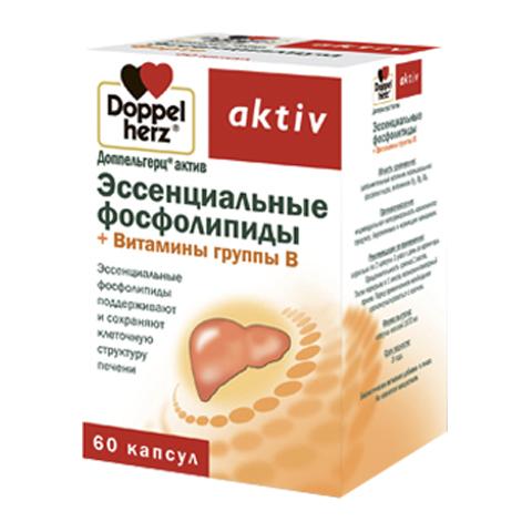добавка пищевая Doppelherz Доппельгерц Актив Эссенциальные фосфолипиды + витамины группы В (60 капсул) эссенциальные фосфолипиды 60 мягкие желатиновые капсулы