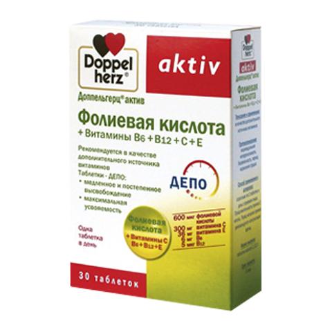 добавка пищевая Doppelherz Доппельгерц Актив Фолиевая кислота + витамины В6, В12, С, Е (30 таблеток) фолиевая кислота для беременных где в спб