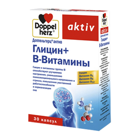 добавка пищевая Doppelherz Доппельгерц Актив Глицин + В-витамины (30 капсул) витамины