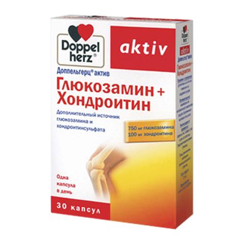 добавка пищевая Doppelherz Доппельгерц Актив Глюкозамин + Хондроитин (30 капсул) суставит глюкозамин хондроитин гель бальзам 100мл 125мл