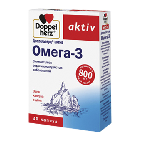 добавка пищевая Doppelherz Доппельгерц Актив Омега-3 (30 капсул) пищевая добавка atech nutrition glucosamine chondroitine mcm 100 капсул
