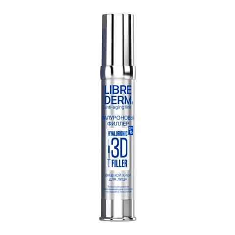 Либридерм 3D Гиалуроновый филлер Крем дневной для лица SPF15 (Флакон с дозатором 30 мл)Уход за лицом<br>Librederm 3D Hyaluronic filler Day face cream SPF15 (Либридерм 3D Гиалуроновый филлер Крем дневной для лица SPF15) для всех типов кожи.<br>Безинъекционное омолаживающее средство последнего поколения Librederm 3D Hyaluronic filler Day face cream SPF15 эффективно разглаживает все типы морщинок, восстанавливает упругость и здоровое сияние кожи, стирает с лица признаки усталости. Солнечные фильтры обеспечивают защиту от фотостарения. Либридерм 3D Гиалуроновый филлер Крем дневной для лица SPF15 наполняет клетки кожи жизненной энергией и замедляет ее возрастное увядание. С каждым днем лицо выглядит моложе.<br>Активные компоненты:<br>гиалуроновая кислота моментально уменьшает глубину морщинок, насыщает кожу влагой, ускоряет клеточное обновление, активизирует выработку коллагена и эластина;<br>экстракт стевии медовой расслабляет мышцы лица, благодаря чему разглаживаются мимические морщинки;<br>натуральные масла карите, кунжута и зародышей пшеницы интенсивно питают, смягчают и увлажняют кожу, улучшают ее барьерные функции;<br>токоферол (витамин Е) замедляет возрастное старение, повышает упругость и эластичность кожи, выравнивает цвет лица;<br>сферические частицы оптически выравнивают рельеф кожи, придают ей приятное сияние;<br>УФ-фильтры SPF15 защищают кожу от вредного спектра солнечного излучения.<br><br>Объем мл: 30<br>Тип кожи: всех типов