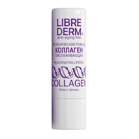 Либридерм Коллаген Помада гигиеническая омолаживающая (Стик 4 г)Уход за лицом<br>Librederm Anti-Aging Line Collagen Rejuvenating Lipstick (Либридерм Коллаген Помада гигиеническая омолаживающая) для всех типов кожи.<br>Быстро восстановить потрескавшуюся, сухую, обветренную кожу губ вы можете с помощью гигиенической помады Librederm Anti-Aging Line Collagen Rejuvenating Lipstick. Средство делает кожу эластичной и упругой, защищает от негативных факторов внешней среды и омолаживает. После регулярного применения гигиенической помады Либридерм Коллаген разгладятся мелкие морщинки на губах, а контур станет четким. Ваши губы снова гладкие и нежные. Гигиеническая помада подходит в качестве основы под макияж.<br>Активные компоненты:<br>коллаген заполняет мелкие морщинки, разглаживает, делает кожу упругой;<br>пчелиный воск защищает кожу от негативных факторов внешней среды, помогает удерживать влагу.<br><br>Тип кожи: всех типов