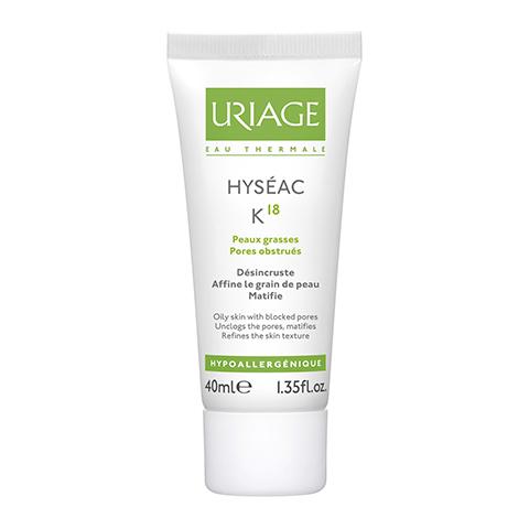 Урьяж Исеак Эмульсия К18 (Туба 40 мл)Уход за лицом<br>Uriage Hyseac K18 (Урьяж Исеак Эмульсия К18) для жирной, комбинированной, проблемной кожи.<br>Эмульсия Uriage K18 из линии Hyseac с консистенцией, близкой к нежному крему, предназначена для ухода за жирной кожей, склонной к закупорке пор и развитию акне. Она способна моментально устранять стянутость и раздражение, быстро восстанавливать здоровую микрофлору эпидермиса и эффективно устранять черные точки. В формулу этого средства также входит комплекс ингредиентов, которые поглощают избыток влаги и кожного жира, обеспечивая длительное матирование лица.<br>Активные компоненты:<br>комплекс АНА - 18% (эфиры яблочной кислоты 10%, яблочная кислота 2%, гликолят аргинина 6%) отшелушивает омертвевшие клетки эпидермиса, растворяет содержимое комедонов, сужает поры, стимулирует клеточное обновление и синтез коллагена;<br>салицилоил фитосфингозина предотвращает развитие воспалений, ускоряет самообновление кожи;<br>экстракт солодки вздутой (лакрицы) снижает активность сальных желез, уменьшает риск появления угрей;<br>пироктон оламин уничтожает патогенные микроорганизмы, бактерии, грибки;<br>термальная вода Урьяж 1% снимает раздражение и воспаление, восстанавливает упругость кожи и делает ее бархатистой;<br>матирующие порошки устраняют жирный блеск лица.<br>В отзывах о Uriage Hyseac K18 пользователи подтверждают, что если каждый день использовать эту эмульсию, заметно уменьшается количество черных точек и воспалительных элементов, улучшается кожный микрорельеф, цвет лица становится более ровным.<br>Для принятия решения о покупке эмульсии Uriage Hyseac K18 отзывов покупателей недостаточно? Воспользуйтесь бесплатной консультацией наших профессиональных косметологов по телефону или в онлайн чате. Они точно определят тип вашей кожи и расскажут, какими будут результаты ее применения.<br>В интернет магазине Перфектория можно купить любые продукты из каталога с доставкой по России и странам СНГ. Гарантируем отличные сроки годности, в 