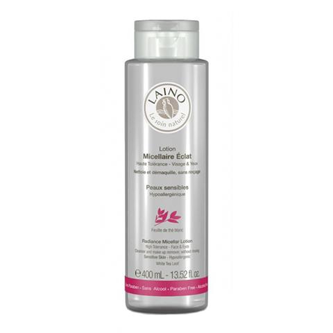 Лено Мицеллярный лосьон с высокой степенью переносимости Сияние (Флакон 400 мл)Уход за чувствительной кожей<br>Мицеллярный лосьон Laino на 95% состоит из компонентов природного происхождения.  Прекрасно очищает вашу кожу от ежедневных загрязнений и макияжа, в том числе водостойкого. Оставляет приятное ощущение свежести и мягкости, после использования.<br>Испытано под дерматологическим и офтальмологическим контролем.<br><br>Объем мл: 400<br>Тип кожи: атопичной, сухой, чувствительной