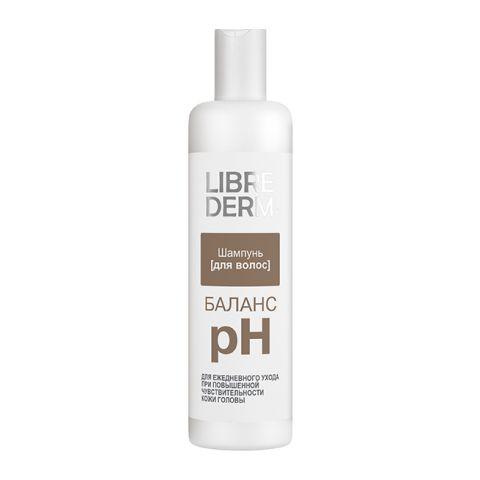 Либридерм Шампунь для волос pH-Баланс (Флакон 250 мл)Уход за волосами<br>Librederm Шампунь для волос pH-Баланс (Либридерм Шампунь pH-Баланс) для всех типов волос, для чувствительной кожи головы. <br>Либридерм Шампунь pH-Баланс разработан для ежедневного очищения волос и ухода за кожей головы с повышенной чувствительностью. Мягкая моющая формула и комбинация растительных экстрактов эффективно очищают, не нарушая защитной функции кожи. Ваши волосы сияют здоровьем и чистотой.<br>Активные компоненты: <br>овсяный ПАВ  нежно очищает, не разрушает защитный барьер кожи головы; <br>глицерин увлажняет и смягчает; <br>купаж экстрактов шиповника, пассифлоры, алоэ-вера успокаивает, тонизирует, увлажняет кожу головы; <br>Д-пантенол успокаивает, увлажняет, стимулирует обновление кожи, защищает; <br>лимонная кислота усиливает природный блеск волос.<br><br>Объем мл: 250<br>Тип кожи: всех типов, чувствительной