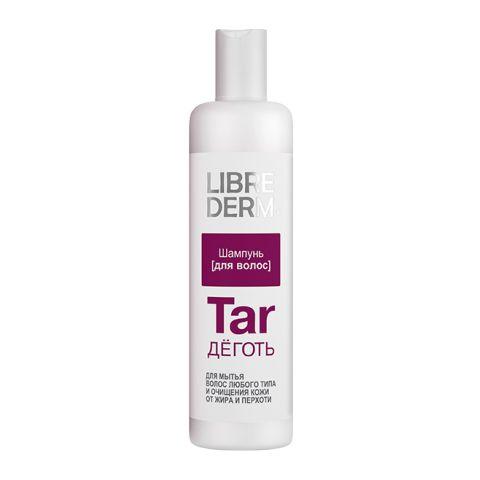 Либридерм Шампунь для волос Деготь (Флакон 250 мл)Уход за волосами<br>Librederm Шампунь Tar (Либридерм Шампунь для волос Деготь) для волос всех типов, для жирной кожи головы. <br>Либридерм Шампунь Деготь эффективно очищает кожу головы и волосы от жира и перхоти. При регулярном применении средство подавляет чрезмерную выработку кожного сала, укрепляет луковицы, ускоряет обновление клеток кожи головы. Ваши волосы становятся струящимися, блестящими и ухоженными.<br>Активные компоненты: <br>деготь березовый борется с излишней жирностью, укрепляет корни, регулирует выработку кожного сала, подсушивает, предотвращает выпадение, устраняет перхоть;<br>Д-пантенол защищает, питает, увлажняет и восстанавливает волосы; <br>лимонная кислота возвращает волосам блеск.<br><br>Объем мл: 250<br>Тип кожи: всех типов, жирной