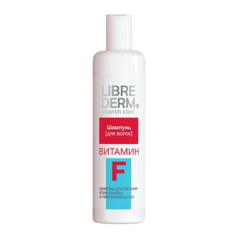 Либридерм Витамин F Шампунь для волос  (Флакон 250 мл)Уход за волосами<br>Librederm Vitamin Care Vitamin F Шампунь (Либридерм Витамин F Шампунь для волос) для всех типов кожи головы, для сухих на концах и жирных у корней волос. <br>Либридерм Шампунь Витамин F разработан специально для очищения сухих волос и проблемной кожи головы. Средство эффективно устраняет загрязнения, восстанавливает, питает.  Волосы преображаются: становятся гладкими, мягкими, шелковистыми, крепкими. При регулярном применении шампунь Librederm Vitamin Care Vitamin F помогает нормализовать выработку себума кожей головы, предотвращает появление перхоти, шелушение. Мягкая формула без силикона не утяжеляет волосы.<br>Активные компоненты: <br>витамин F оздоравливает кожу головы, делает волосы крепкими, объемными, предотвращает их выпадение; <br>Д-пантенол укрепляет, увлажняет, питает волосы и кожу головы, защищает от неблагоприятного действия факторов внешней среды; <br>масло бабассу борется с сухостью волос, увлажняет, питает, предотвращает ломкость и появление секущихся кончиков; <br>масло конопли очищает от кожного сала, увлажняет, питает, защищает волосы, делает их густыми и шелковистыми; <br>лимонная кислота придает волосам естественный блеск.<br><br>Объем мл: 250<br>Тип кожи: всех типов