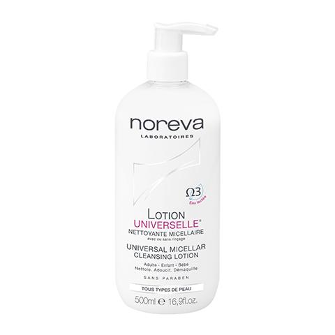 Норева Универсальный Лосьон мицеллярный очищающий  (Флакон 500 мл)Очищение кожи лица<br>Специально разработандля деликатногоочищения кожи без использованияводы. Очищаетвсе виды загрязнений кожи, включая водостойкий макияж. Высокая степеньпереносимостипозволяетприменять его как на взрослой, так и на детской коже.<br>Лосьонявляется двухфазным: жирорастворимыйи водорастворимый.<br>Не нарушает естественную защитнуюпленку кожи.<br>Имеет физиологический pH (кислотно-щелочной баланс): от 4 до 6,5 в зависимости от типа кожи.<br>Биомицеллы Омега 3 нежно и аккуратно удаляют загрязнения.<br>Не содержит ПАВ, мыла, парабенов, отдушек, детергентов, ароматизаторов, красителей, спирта, химических растворителей.<br>Некомедогенно. Обладает высокой степенью переносимости.<br><br>Объем мл: 500<br>Тип кожи: всех типов