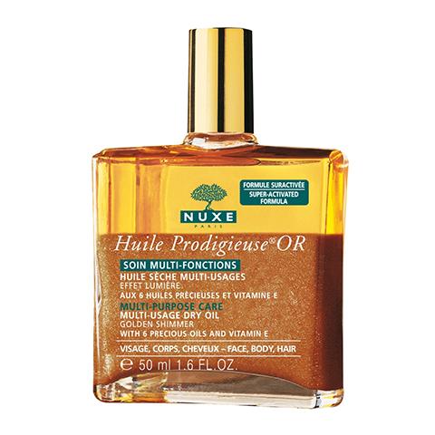 Нюкс Продижьёз Масло золотое Новая формула (Флакон 50 мл)Идеи подарка<br>Это мультифункциональное сухое масло моментально питает, восстанавливает и защищает благодаря концентрату эфирных растительных масел  и витамину Е.<br>Увлажняет кожу, улучшает сияние кожи и блеск волос, изысканно подчёркивает линии лица, тела и волос.<br>Не соджержит консервантов.<br>Гамма ПРОДИЖЬЁЗ Лабораторий НЮКС разработана и протестирована под дерматологическим контролем. Её эффективность и безопасность подтверждены клиническими испытаниями. Не содержит искусственных ароматизаторов и минеральных масел. Формула разработана для минимизации рисков аллергических реакций. Некомедогенно. Не содержит красителей и составляющих животного происхождения. Тестирование на животных не проводилось.<br><br>Объем мл: 50<br>Тип кожи: всех типов