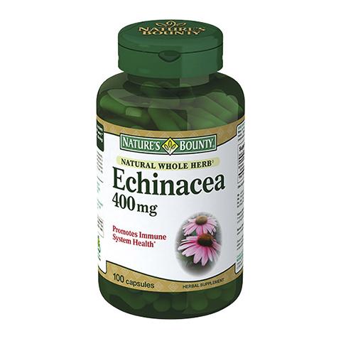Нэйчес Баунти Натуральная Эхинацея 400 мг (100 капсул)Здоровье<br>Natures Bounty Natural Whole Echinacea 400 mg (Нэйчес Баунти Натуральная Эхинацея 400 мг). <br>Чтобы снизить риск возникновения простудных заболеваний, принимайте биологически активную добавку Natures Bounty Natural Whole Echinacea 400 mg. Эхинацея известна как мощный природный иммуностимулятор, который активизирует клеточный иммунитет, обладает антибактериальными, противовирусными, противомикотическими свойствами. Прием Нэйчес Баунти Натуральной Эхинацеи 400 мг позволит усилить иммунный ответ организма, что предотвратит простуды, а в случае их появления смягчит симптомы и ускорит выздоровление.<br>Активные компоненты: <br>эхинацея пурпурная стимулирует иммунитет, помогает бороться с инфекционными заболеваниями. <br>Без консервантов<br>Не содержит сахара, подсластителей, лактозы, глютена.<br><br>Тип кожи: всех типов