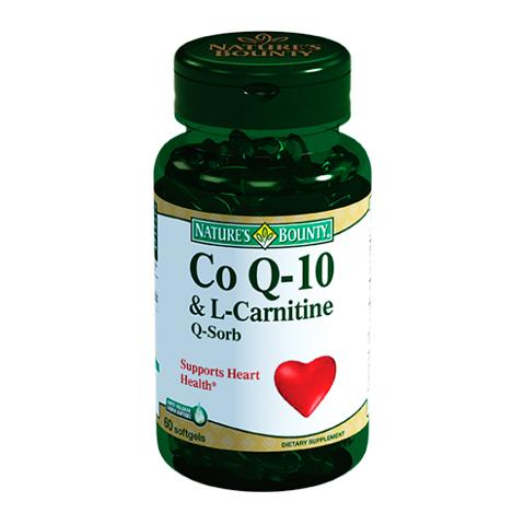Нэйчес Баунти Коэнзим Q-10 и L-карнитин (Банка 60 капсул)Здоровье<br>Natures Bounty Co Q-10 &amp; L-Carnitine (Нэйчес Баунти Коэнзим Q-10 и L-карнитин). <br>Для оптимизации метаболических процессов, пополнения энергетических запасов организма и поддержания работы сердца, печени, мозга, мышц принимайте добавку Natures Bounty Co Q-10 &amp; L-Carnitine. Коэнзим Q-10 необходим для защиты организма от окислительного стресса, выработки энергии, прохождения окислительно-восстановительных реакций в клетках, работы мышц и синтеза эритроцитов. L-карнитин стимулирует преобразование жирных кислот в энергию, помогает организму справляться со стрессом. Прием препарата Нэйчес Баунти Коэнзим Q-10 и L-карнитин в сочетании с физическими упражнениями поможет избавиться от лишнего веса. Для лучшего усвоения полезных веществ каждая капсула биологически активной добавки содержит масло рисовых отрубей.<br>Активные компоненты: <br>коэнзим Q-10 улучшает клеточное дыхание и метаболизм, участвует в образовании энергии, проявляет антиоксидантные свойства; <br>L-карнитин транспортирует жирные кислоты в митохондрии клеток, помогая превращать жиры в энергию, повышает мозговую и физическую активность. <br>Без консервантов<br>Не содержит сахара, подсластителей, лактозы, глютена.<br><br>Тип кожи: всех типов