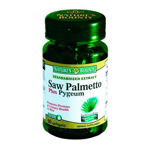 Нэйчес Баунти Комплекс Со Пальметто (Банка 60 капсул)Здоровье<br>Natures Bounty Standardized Extract Saw Palmetto (Нэйчес Баунти Комплекс Со Пальметто). <br>Благодаря комплексному воздействию трех активных компонентов Нэйчес Баунти Комплекс Со Пальметто уменьшает гиперплазию простаты, улучшает мочеиспускание, борется с  воспалительными процессами в организме. Препарат подавляет чрезмерную выработку дигидротестостерона, который приводит к развитию доброкачественной гиперплазии предстательной железы и поредению волос у мужчин. Препарат Natures Bounty Standardized Extract Saw Palmetto содержит только натуральные компоненты, которые улучшают мужское здоровье.<br>Активные компоненты: <br>экстракт плодов карликовой пальмы выступает ингибитором преобразования тестостерона в дигидротестостерон, который отвечает за увеличение простаты; <br>экстракт масла семян тыквы проявляет противовоспалительные свойства, нормализует функции предстательной железы; <br>порошок листьев «медвежьих ушек»  улучшает мочеиспускание, подавляет воспалительные процессы в мочеполовой системе, проявляет антисептические свойства. <br>Без консервантов<br>Не содержит сахара, подсластителей, лактозы, глютена.<br><br>Тип кожи: всех типов