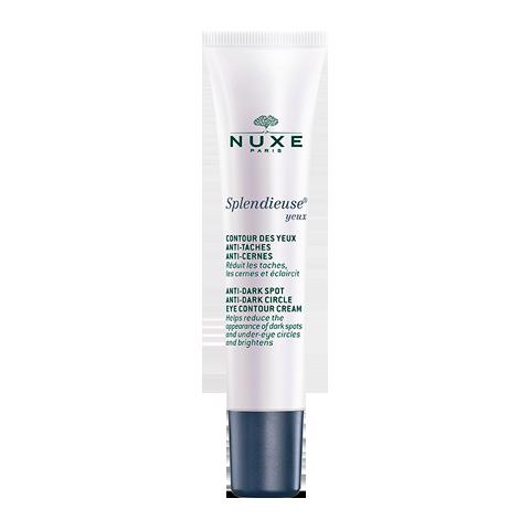 Нюкс Сплендьез Крем для контура глаз (Туба 15 мл)Средства против пигментных пятен<br>Nuxe Splendieuse Yeux (Нюкс Сплендьез Крем для контура глаз) для всех типов коживокруг глаз.<br>Nuxe Splendieuse Yeux – эффективное средство с витаминами и растительными компонентами, которое комплексно повышает качество кожи контура глаз. День за днем уменьшается выраженность пигментных пятен, исчезают темные круги, кожа наполняется сиянием, выравнивается ее тон, разглаживается поверхность. При регулярном применении крема взгляд становится более ярким и выразительным. Уникальный комплекс четырех активных ингредиентов природного происхождения замедляет процесс появления тёмныхпятен различного генезиса.<br>Активные компоненты:<br>комплекс экстрактов белого крокуса, лилии «звездочет», клеток какао и витамина С препятствует появлению пигментных пятен на четырех этапах: активации меланоцитов, производства меланина, появлении и закреплении пигментных пятен на поверхности кожи.<br><br>Объем мл: 15<br>Тип кожи: всех типов