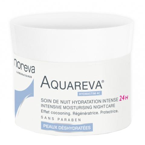 Норева Акварева Интенсивный ночной увлажняющий уход 24 часа  (Банка 50 мл)Увлажнение и восстановление кожи<br>Уникальный состав увлажняющих компонентов,проникающий в глубокие слои кожи, разработан специально для стимуляции цикла восстановления кожи в ночное время, ведь именно в это время мы находимся в расслабленном состоянии и наша кожа наиболее восприимчива к дополнительной помощи в питании и увлажнении.<br>Находящийся в составе крема 4с Hydrastim препятствует потере влаги, активизирует обмен веществ природной гидратации (NMF), создает гидролипидную защитную пленку, омолаживает вашу кожу.<br>Гиалуроновая кислота (фрагментированная) создает в эпидермисе микро-резервуары для обеспечения непрерывного и устойчивого увлажнения вашей кожи.<br>Обогащенные капли ледниковой воды, необходимые для восстановительных функций вашей кожи, насыщают вашу кожу микро- и макроэлементами. Жирные кислоты Омега 3 и Омега 6, полученные из манго и кокоса, восполняют дефицит липидов, масла манго, семян подсолнечника и кокоса питают вашу кожу, восстанавливают баланс липидов .<br>Легкая, бархатистая текстура крема делает кожу мягкой и упругой.<br>Крем может служить отличной базой под макияж.<br><br>Объем мл: 50<br>Тип кожи: всех типов