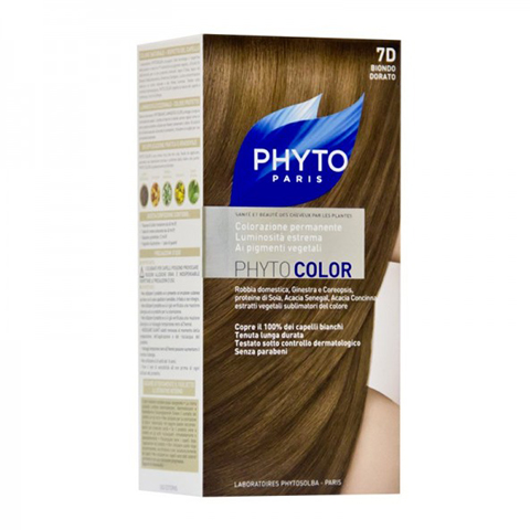 Фито Фитоколор Краска для волос (Набор, 7D Золотистый блонд)Окрашивание волос<br>Фитоколор – первая стойкая краска, сочетающая высокие технологии и глубокое знание растений, бережно относящаяся к волосам и чувствительной коже головы. Краска содержит от 57% до 61% красящих пигментов (индиго, бразильское дерево, кореопсис, дрок), издревле применяемых в качестве натуральных красителей, а также эфирное масло сладкого апельсина, обеспечивающее глубокое питание волосяного стержня. Благодаря инновационной идее, совместившей в себе высокие технологии и познания в области растений, в свет вышла краска PHYTO COLOR. Это краска, которая: - закрашивает 100% седых волос с первого же окрашивания; - обеспечивает высокую устойчивость вашего цвета; -щадит здоровье кожи головы и волос.<br>СРЕДСТВО ДЛЯ УХОДА ПОСЛЕ ОКРАШИВАНИЯ обогащено эфирным маслом сладкого апельсина и содержит солнцезащитный фильтр. Это средство питает волосяной стержень и придает ему естественный яркий цвет. Кремообразная нежно парфюмированная краска PHYTO COLOR равномерно и легко распределяется по волосам. Практически не содержит аммиака, обладает приятным ароматом и обеспечивает волосам исключительный блеск. Содержит UV- фильтр.<br>Состав набора:<br>1 флакон с проявляющим молочком - 60 мл<br>1 туба с окрашивающим кремом - 40 мл<br>1 саше с защитным средством - 25 мл<br>Защитные перчатки - 1 пара<br>Инструкция<br>??Блонд<br>??<br>Шатен<br><br>Брюнет<br><br><br>Таблица поподбору цвета:<br><br>Цвет: 7D Золотистый блонд<br>Тип кожи: всех типов, чувствительной