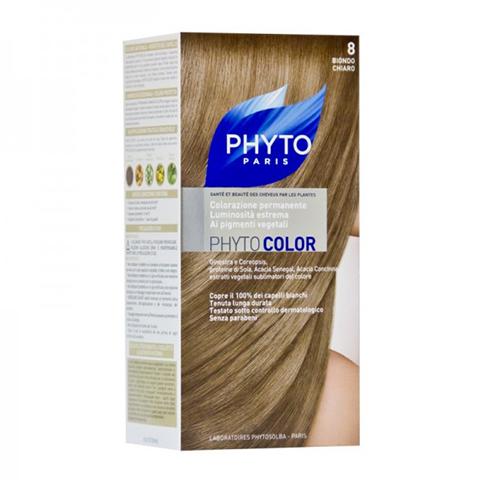 Фито Фитоколор Краска для волос (Набор, 8 Светлый блонд)Окрашивание волос<br>Фитоколор – первая стойкая краска, сочетающая высокие технологии и глубокое знание растений, бережно относящаяся к волосам и чувствительной коже головы. Краска содержит от 57% до 61% красящих пигментов (индиго, бразильское дерево, кореопсис, дрок), издревле применяемых в качестве натуральных красителей, а также эфирное масло сладкого апельсина, обеспечивающее глубокое питание волосяного стержня. Благодаря инновационной идее, совместившей в себе высокие технологии и познания в области растений, в свет вышла краска PHYTO COLOR. Это краска, которая: - закрашивает 100% седых волос с первого же окрашивания; - обеспечивает высокую устойчивость вашего цвета; - щадит здоровье кожи головы и волос.<br>Средство для ухода после окрашиванияобогащено эфирным маслом сладкого апельсина и содержит солнцезащитный фильтр. Это средство питает волосяной стержень и придает ему естественный яркий цвет.<br>Кремообразная нежно парфюмированная краска PHYTO COLOR<br>равномерно и легко распределяется по волосам,<br>?практически не содержит аммиака,<br>обладает приятным ароматом и обеспечивает волосам исключительный блеск,<br>содержит UV- фильтр.<br>Состав набора:<br>1 флакон с проявляющим молочком - 60 мл,<br>1 туба с окрашивающим кремом - 40 мл,<br>1 саше с защитным средством - 25 мл,<br>защитные перчатки - 1 пара,<br>инструкция.<br>??Блонд<br>??<br>Шатен<br><br>Брюнет<br><br><br>Таблица поподбору цвета:<br><br>Цвет: 8 Светлый блонд<br>Тип кожи: всех типов, чувствительной