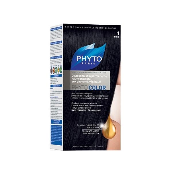Фито Фитоколор Краска для волос (Набор, 1 черный)Окрашивание волос<br>Phyto Phyto Color Permanent coloration (Фито Фитоколор Краска для волос, оттенок 1 черный) для всех типов волос, чувствительной кожи головы.<br>Фитоколор – первая стойкая краска, сочетающая высокие технологии и глубокое знание растений, бережно относящаяся к волосам и чувствительной коже головы. Краска содержит от 57% до 61% красящих пигментов (индиго, бразильское дерево, кореопсис, дрок), издревле применяемых в качестве натуральных красителей, а также эфирное масло сладкого апельсина, обеспечивающее глубокое питание волосяного стержня.<br>Благодаря инновационной идее, совместившей в себе высокие технологии и познания в области растений, в свет вышла краска Phyto Phyto Color Permanent coloration. Она закрашивает 100% седых волос после первого окрашивания, обеспечивает высокую устойчивость цвета, щадит здоровье кожи головы и волос.<br>Средство для ухода после окрашивания обогащено эфирным маслом сладкого апельсина и содержит солнцезащитный фильтр. Это средство питает волосяной стержень и придает ему естественный яркий цвет. Кремообразная нежно парфюмированная Краска для волос Фито Фитоколор равномерно и легко распределяется по волосам. Практически не содержит аммиака, обладает приятным ароматом и обеспечивает волосам исключительный блеск. Содержит UV- фильтр.<br>Состав набора:<br>1 флакон с проявляющим молочком - 60 мл<br>1 туба с окрашивающим кремом - 40 мл<br>1 саше с защитным средством - 25 мл<br>Защитные перчатки - 1 пара<br>Инструкция<br>??Блонд<br>??<br>Шатен<br><br>Брюнет<br><br>Таблица поподбору цвета:<br><br>Цвет: 1 черный<br>Тип кожи: всех типов, чувствительной