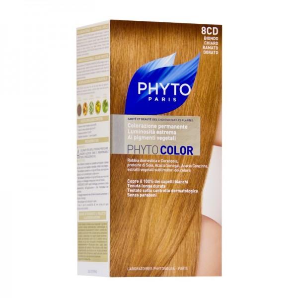 Фито Фитоколор Краска для волос (Набор, 8CD Рыжеватый блонд)Окрашивание волос<br>Фитоколор – первая стойкая краска, сочетающая высокие технологии и глубокое знание растений, бережно относящаяся к волосам и чувствительной коже головы. Краска содержит от 57% до 61% красящих пигментов (индиго, бразильское дерево, кореопсис, дрок), издревле применяемых в качестве натуральных красителей, а также эфирное масло сладкого апельсина, обеспечивающее глубокое питание волосяного стержня. Благодаря инновационной идее, совместившей в себе высокие технологии и познания в области растений, в свет вышла краска PHYTO COLOR. Это краска, которая: - закрашивает 100% седых волос с первого же окрашивания; - обеспечивает высокую устойчивость вашего цвета; - щадит здоровье кожи головы и волос.<br>Средство для ухода после окрашиванияобогащено эфирным маслом сладкого апельсина и содержит солнцезащитный фильтр. Это средство питает волосяной стержень и придает ему естественный яркий цвет.<br>Кремообразная нежно парфюмированная краска PHYTO COLOR<br>равномерно и легко распределяется по волосам,<br>?практически не содержит аммиака,<br>обладает приятным ароматом и обеспечивает волосам исключительный блеск,<br>содержит UV- фильтр.<br>Состав набора:<br>1 флакон с проявляющим молочком - 60 мл,<br>1 туба с окрашивающим кремом - 40 мл,<br>1 саше с защитным средством - 25 мл,<br>защитные перчатки - 1 пара,<br>инструкция.<br>??Блонд<br>??<br>Шатен<br><br>Брюнет<br><br><br>Таблица поподбору цвета:<br><br>Цвет: 8CD Рыжеватый блонд<br>Тип кожи: всех типов, чувствительной