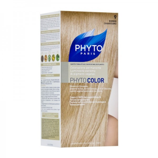Фито Фитоколор Краска для волос (Набор, 9 Очень светлый блонд)Окрашивание волос<br>Фитоколор – первая стойкая краска, сочетающая высокие технологии и глубокое знание растений, бережно относящаяся к волосам и чувствительной коже головы. Краска содержит от 57% до 61% красящих пигментов (индиго, бразильское дерево, кореопсис, дрок), издревле применяемых в качестве натуральных красителей, а также эфирное масло сладкого апельсина, обеспечивающее глубокое питание волосяного стержня. Благодаря инновационной идее, совместившей в себе высокие технологии и познания в области растений, в свет вышла краска PHYTO COLOR. Это краска, которая: - закрашивает 100% седых волос с первого же окрашивания; - обеспечивает высокую устойчивость вашего цвета; - щадит здоровье кожи головы и волос.<br>Средство для ухода после окрашиванияобогащено эфирным маслом сладкого апельсина и содержит солнцезащитный фильтр. Это средство питает волосяной стержень и придает ему естественный яркий цвет.<br>Кремообразная нежно парфюмированная краска PHYTO COLOR<br>равномерно и легко распределяется по волосам,<br>?практически не содержит аммиака,<br>обладает приятным ароматом и обеспечивает волосам исключительный блеск,<br>содержит UV- фильтр.<br>Состав набора:<br>1 флакон с проявляющим молочком - 60 мл,<br>1 туба с окрашивающим кремом - 40 мл,<br>1 саше с защитным средством - 25 мл,<br>защитные перчатки - 1 пара,<br>инструкция.<br>??Блонд<br>??<br>Шатен<br><br>Брюнет<br><br><br>Таблица поподбору цвета:<br><br>Цвет: 9 Очень светлый блонд<br>Тип кожи: всех типов, чувствительной