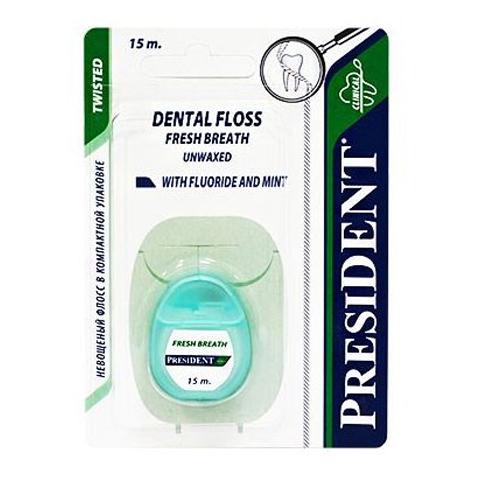 зубная нить PresiDENT PresiDENT Зубная нить невощеная мятная с фтором 15м president зубная щётка золото жесткая president 31037 1 шт