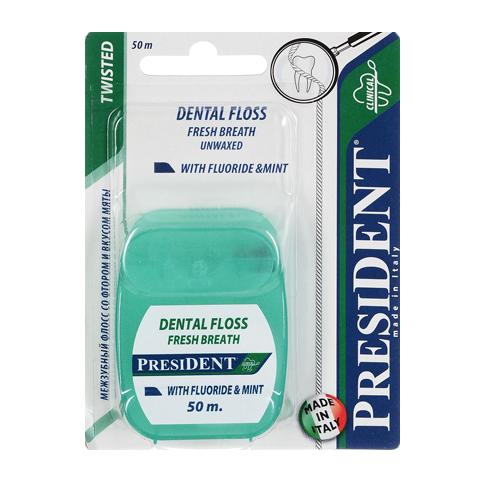 зубная нить PresiDENT PresiDENT Зубная нить мятная с фтором 50м пленка тонировочная president 10% 0 75 м х 3 м