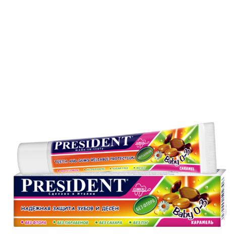 зубная паста PresiDENT PresiDENT Baby Зубная паста 0-3 карамель (Туба 30 мл) зубная паста president sensitive объем 75 мл