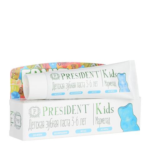 зубная паста PresiDENT PresiDENT Kids Зубная паста 3-6 без фтора мармелад   (Туба 50 мл) зубная паста president sensitive объем 75 мл