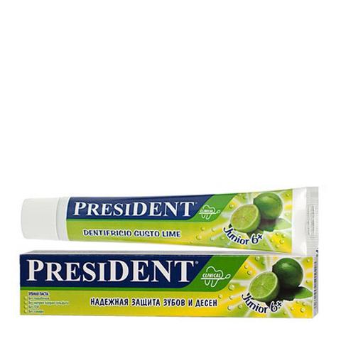 зубная паста PresiDENT PresiDENT Junior Зубная паста 6+ лайм (Туба 50 мл) президент паста зубная детская кидс от 3 до 6лет клубника 50мл