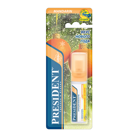 спрей PresiDENT PresiDENT Спрей для полости рта со вкусом мандарина, без спирта (Флакон 20 мл) пленка тонировочная president 5% 0 5м х 3м