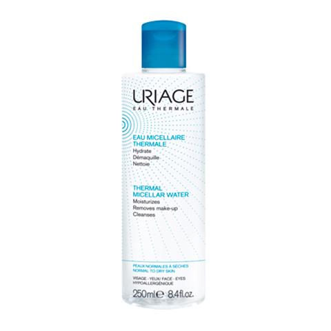 Урьяж Вода Мицеллярная очищающая для нормальной и сухой кожи (Флакон 250 мл)Очищение кожи лица<br>Uriage thermal micellar water normal to dry skin (Урьяж ВодаМицеллярная очищающая) для нормальной и сухой кожи.<br>Гипоаллергенная мицеллярная вода с приятным ароматом идеально очистит ?глаза и лицо от декоративной косметики и загрязнений, моментально устранит чувство стянутости и раздражения, подарит долгое ощущение комфорта. После ее применения ваша кожа будет эластичной и бархатистой, разгладятся мелкие поверхностные морщинки.<br>Активные компоненты:<br>термальная вода Урьяж очищает, увлажняет, смягчает и успокаивает кожу, устраняет чувство сухости и стянутости, активизирует межклеточный обмен веществ;<br>мицеллы мягких ПАВ глубоко очищают кожу, сохраняя ее липидную защиту и естественный уровень рН;<br>глицерин смягчает, обеспечивает длительное увлажнение, образует защитную пленку;<br>экстракт клюквы увлажняет, тонизирует и осветляет кожу, повышает ее иммунитет, замедляет старение клеток;<br>лимонная кислота восстанавливает молодое сияние кожи, улучшает и выравнивает цвет лица.<br>Не требует смывания. Одобрена дерматологами и офтальмологами.<br><br>Объем мл: 250<br>Тип кожи: нормальной, сухой, чувствительной
