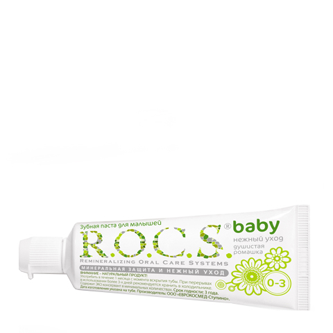 Фото зубная паста R.O.C.S. R.O.C.S. Зубная паста Baby Душистая ромашка 0-3 (Туба 45 г)