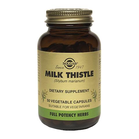 Солгар Молочный чертополох (50 капсул)Здоровье<br>Solgar FP Milk Thistle Vegetable Capsules (Солгар Молочный чертополох) для здоровья печени.<br>Капсулы Solgar FP Milk Thistle Vegetable Capsules содержат препарат из молочного чертополоха (расторопши пятнистой) – растения с мощными гепатопротекторными, детоксикационными, антиоксидантными, желчегонными свойствами.<br>Биологически активная добавка Солгар Молочный чертополох:<br>защищает клетки печени от повреждений лекарственными препаратами, алкоголем, природными и химическими токсинами;<br>обеспечивает профилактику и лечение заболеваний печени, желчного пузыря, печеночного и желчного протоков;<br>усиливает желчеотделение, за счет чего улучшается пищеварение;<br>активизирует липидный обмен;<br>способствует укреплению общего иммунитета организма, ускоряет лечение дерматитов и акне.<br>Технология Full Potencу, по которой изготовлены капсулы, сохраняет все полезные свойства молочного чертополоха.<br>Активные компоненты:<br>молочный чертополох (стандартизованный экстракт семян +порошок из семян и травы) содержит силимарин – комплекс флаволигнанов, которые нейтрализуют свободные радикалы, укрепляют клеточные мембраны и восстанавливают поврежденные ткани, проявляют мощные противоаллергические, противовоспалительные и антитоксические свойства, препятствуют развитию фиброза, цирроза, жировой дистрофии и жировой инфильтрации печени.<br>Без глютена, пшеницы, молочных продуктов, сои, дрожжей, сахара, натрия, искусственных ароматизаторов, консервантов.<br>Кошерный продукт.<br><br>Тип кожи: всех типов