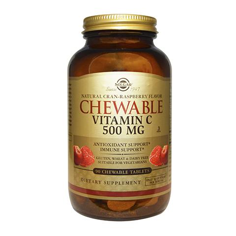 Солгар Витамин С 500 с Малиновым вкусом (90 таблеток)Здоровье<br>Solgar Vitamin C 500 mg Cran-Raspberry Flavor (Солгар Витамин С 500 с Малиновым вкусом) <br>Биологически активная добавка Солгар Витамин С 500 малина служит дополнительным источником аскорбиновой кислоты, мощного антиоксиданта, поддерживающего устойчивость организма к инфекциям и окислительному стрессу. Витамин С стимулирует синтез коллагена, укрепляет стенки сосудов, предотвращает преждевременное старение, поддерживает функционирование лейкоцитов. Solgar Vitamin C 500 mg Cran-Raspberry Flavor поможет справиться с быстрой утомляемостью, снижением мышечного тонуса и поддержать красоту кожи, волос и ногтей. Плоды шиповника и экстракт плодов ацеролы служат дополнительным источником витамина С и биофлаваноидов, которые усиливают его действие. Жевательные таблетки с натуральным малиновым вкусом будут удобны для людей, испытывающих затруднения при глотании.<br>Активные компоненты: <br>витамин С (L-аскорбиновая кислота, аскорбат натрия, аскорбат кальция)  обеспечивает поступление в организм витамина С в легкоусвояемой форме; <br>плоды шиповника, экстракт плодов ацеролы – дополнительный источник витамина С, а также биофлаваноидов, которые усиливают его действие. <br>Не содержит глютена, пшеницы, сои, молочных продуктов, дрожжей.<br>Без консервантов.<br>Подходит для вегетарианцев.<br><br>Тип кожи: всех типов