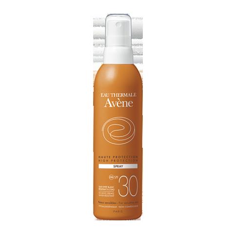 Авен Спрей солнцезащитный SPF 30+ (Флакон 200 мл)Солнцезащитные средства<br>Avene High protection lotion spray SPF 30+ (Авен Спрей солнцезащитный SPF 30+) для всех типов, чувствительной кожи.<br>Спрей солнцезащитный Avene High protection lotion spray SPF 30+ разработан для защиты чувствительной кожи от солнечных коротких и длинных UV-А и UV-B лучей. Благодаря минимальному содержанию химических фильтров спрей создает бережный защитный барьер на коже, не раздражая ее.<br>Уникальный солнцезащитный комплекс компонентов вместе с термальной водой Avene защищает кожу от действия свободных радикалов, смягчает и успокаивает ее.Спрей солнцезащитный Avene High protection lotion spray SPF 30+ легко распределяется по коже, проявляет устойчивость к воздействию влаги.<br>Активные компоненты:<br>термальная вода Avene оказывает смягчающее и противовоспалительное действие;<br>пре-токоферилзащищает клетки эпидермиса от фотостарения, вызванного активизацией свободных радикалов под воздействием солнечных лучей;<br>октокрилензащищает кожу от УФ-лучей;<br>глицерин увлажняет и смягчает;<br>диоксид титанаявляясь минеральным экраном, препятствует повреждению кожи солнечными лучами.<br>100% фотостабилен. Сертифицированное соответствие UVА. Водостойкий.<br><br>Объем мл: 200<br>Тип кожи: всех типов, чувствительной