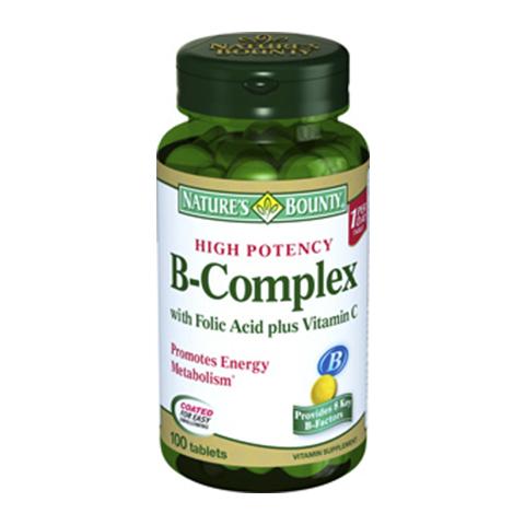 Нэйчес Баунти В-комплекс (100 таблеток)Здоровье<br>Natures Bounty B complex (Нэйчес Баунти В-комплекс). <br>При стрессе, повышенных нагрузках, неполноценном питании, неправильном образе жизни увеличивается потребность организма в витаминах группы В. При их недостатке развивается синдром хронической усталости, появляются нарушения в метаболизме и работе нервной системы, ухудшается состояние кожи, слизистых и волос, возникает атрофия мышц, пропадает аппетит. Прием препарата Natures Bounty B complex поможет избежать неприятных симптомов, поскольку обеспечивает поступление в организм необходимого количества витаминов группы В. Нэйчес Баунти В-комплекс рекомендуется принимать в течение длительного периода времени, водорастворимые витамины не накапливаются «про запас».<br>Активные компоненты: <br>витамин В1 принимает участие в трансформации жиров, белков и углеводов в энергию; <br>витамин В2 необходим для синтеза гемоглобина, стимуляции обменных процессов, работы органов зрения, поддержания здоровья кожи и слизистых; <br>витамин В3 отвечает за синтез жиров и белков, высвобождение энергии из пищи; <br>витамин В5 необходим для образования «хорошего» холестерина, ускорения заживления ран; <br>витамин В6 участвует в образовании антител, регенерации эритроцитов и активности нервной системы; <br>витамин В12 необходим для нормальной работы нервной системы и образования эритроцитов.<br><br>Тип кожи: всех типов