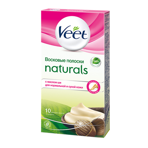 воск Veet Veet Naturals Восковые Полоски для депиляции с маслом ши (10 штук)