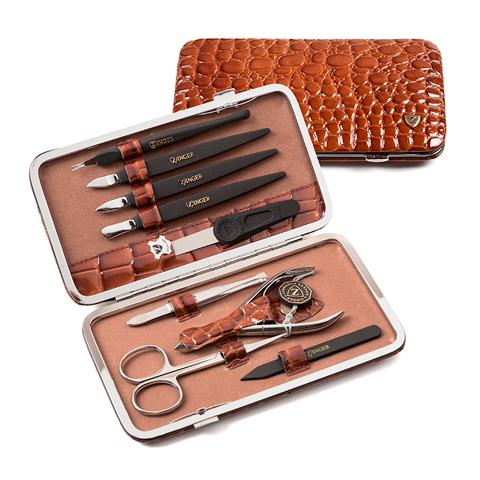 Зингер Маникюрный набор в коричневом футляре (9 предметов) (Набор) (Zinger)