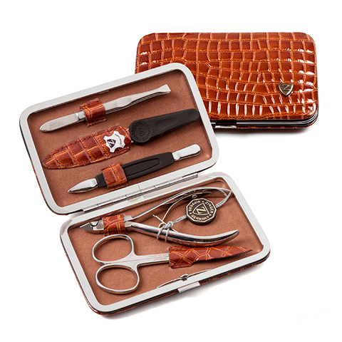 Зингер Маникюрный набор в коричневом футляре (5 предметов) (Набор) (Zinger)