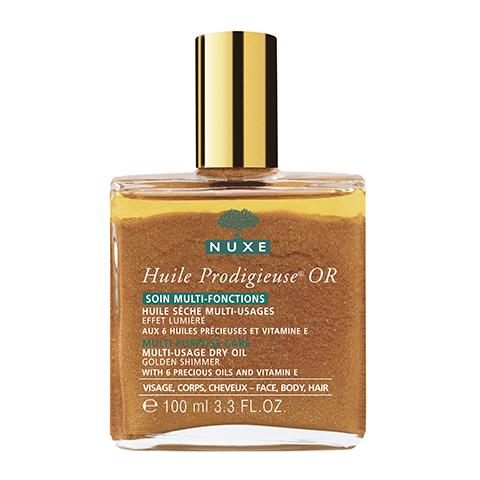 Нюкс Продижьёз Масло золотое Новая формула (Флакон 100 мл)Идеи подарка<br>Это мультифункциональное сухое масло моментально питает, восстанавливает и защищает благодаря концентрату эфирных растительных масел  и витамину Е.<br>Увлажняет кожу, улучшает сияние кожи и блеск волос, изысканно подчёркивает линии лица, тела и волос.<br>Не содержит консервантов.<br>Гамма ПРОДИЖЬЁЗ Лабораторий НЮКС разработана и протестирована под дерматологическим контролем. Её эффективность и безопасность подтверждены клиническими испытаниями. Не содержит искусственных ароматизаторов и минеральных масел. Формула разработана для минимизации рисков аллергических реакций. Некомедогенно. Не содержит красителей и составляющих животного происхождения. Тестирование на животных не проводилось.<br><br>Объем мл: 100<br>Тип кожи: всех типов