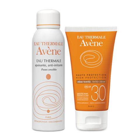 Авен Набор Крем солнцезащитный с тонирующим эффектом SPF30+ и Термальная вода (2 средства) (Avene)