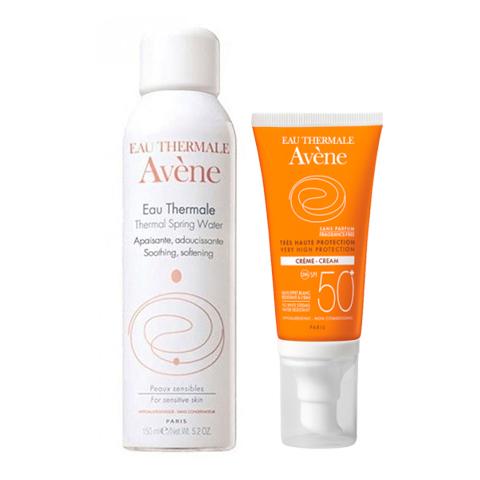 Авен Набор Крем солнцезащитный SPF50+ и Термальная вода (2 средства) (Avene)