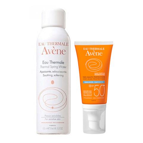 Авен Набор Эмульсия солнцезащитная SPF 50+ и Термальная вода (2 средства) (Avene)