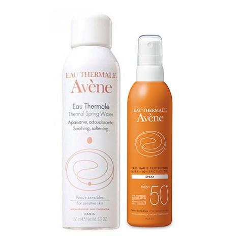Авен Набор Спрей солнцезащитный SPF 50+ и Термальная вода (2 средства) (Avene)