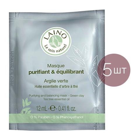 Лено Очищающая и регулирующая маска для лица с зеленой глиной (5 штук) (Laino)